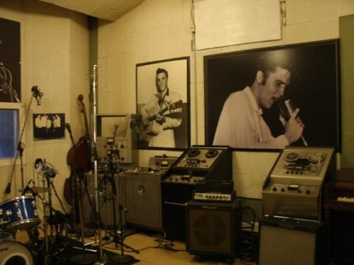 Johnny Cash probably wasnt looking at a giant portrait of Elvis when he recorded at Sun, but he was definitely looking at that wall