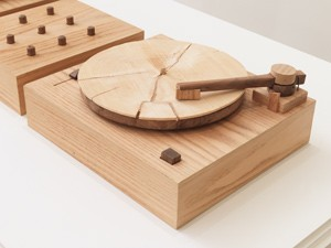 Jordan Bennett, Turning Tables, 2010, walnut, oak, spruce and audio. Collection of John Cook. Courtesy of the artist. - RACHEL TOPHAM, VANCOUVER ART GALLERY