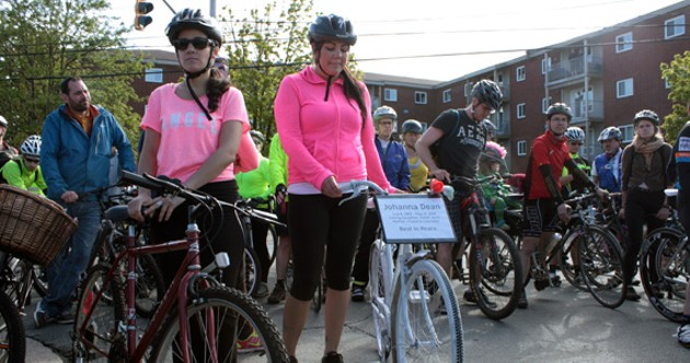 Julie Dean, left, at the memorial bike ride for her twin sister, Johanna - HILARY BEAUMONT