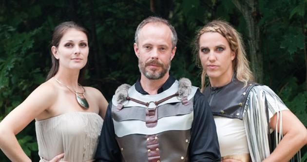L-R SBTS' Riley Raymer (Lavinia), Marty Burt (Titus) and Kimberley Cody (Tamora) in a rare bloodless moment. - MELISSA DUBÉ