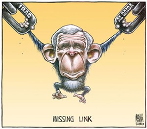 "MacKinnon's 2004 ""Missing Link"" editorial Cartoon - BRUCE MACKINNON"
