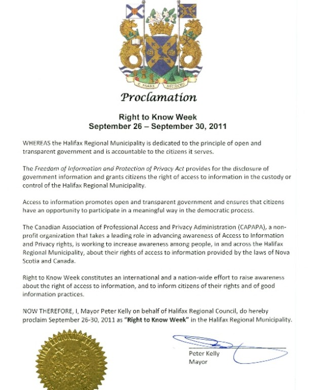 Mayor Peter Kelly Declares Next Week Right To Know Week Reality