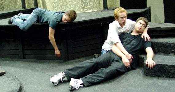 Michael Curry, Josh Cruddas and Ryan Kennedy rehearse for While We're Young.