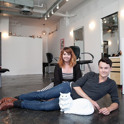 Michael Phillips & Robyn Brittany Touchie at One Block Barbershop