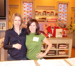 Michelle SaintOnge posing with a Martha Stewart Show producer.