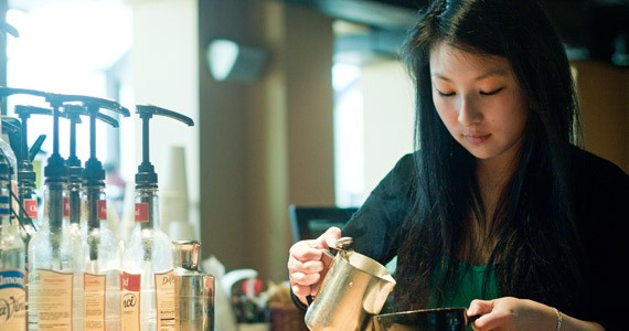 Mid Point Cafe's Evangeline Sing pours a buzz-free hot drink