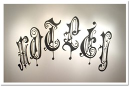 Moving metal Artist David Poolman's metal-tattoo paintings flow across the gallery walls.