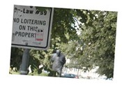 """No loitering"" sign in front of Spring Garden Road Library."