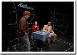 On-going Shane Carty, Kristin Bell, Xuan Fraser on stage at Neptune Studio. photo Scott Munn