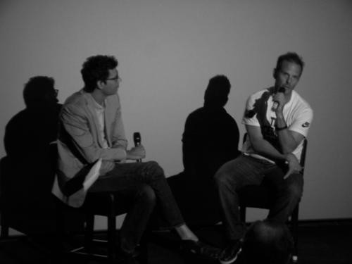Peter Berg (right) discusses the appeal of sports as film subject, shoots downidea of Gretzky biopic.