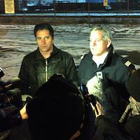 Phil McNulty (r) speaking to reporters last year.