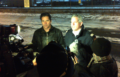 Phil McNulty (r) speaking to reporters last year. - HALIFAX COMMUNICATIONS