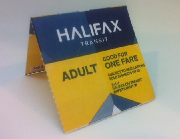 Picture of the new bus ticket, with the Halifax Transit logo.