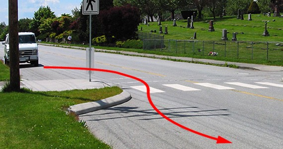 Pinchpoints, or curb extensions, are used to extend sidewalks and reduce lane space, often to guard pedestrian crossings. Squeezing the roadways like this slows down drivers and keeps everyone safe. - RICHARD DRDUL