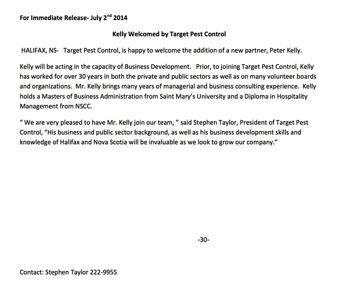 Press release asserting that disgraced former mayor Peter Kelly joined a pest control company.