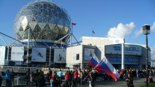 Russian Pavilion: Putin maintains that new Russian state historical research shows that the geodesic dome (pictured) is a 1:1 scale of Sputnik, which of course, carried to space for the first time a dancing bear.