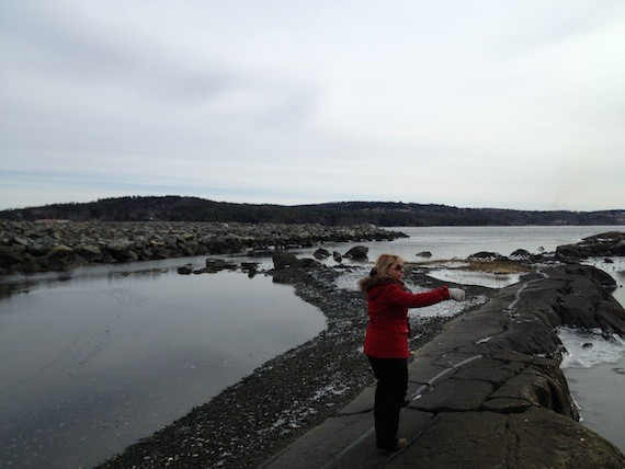 Sandra Banfield points at the Bedford Reef. Behind her, to the left, is the infilling project.
