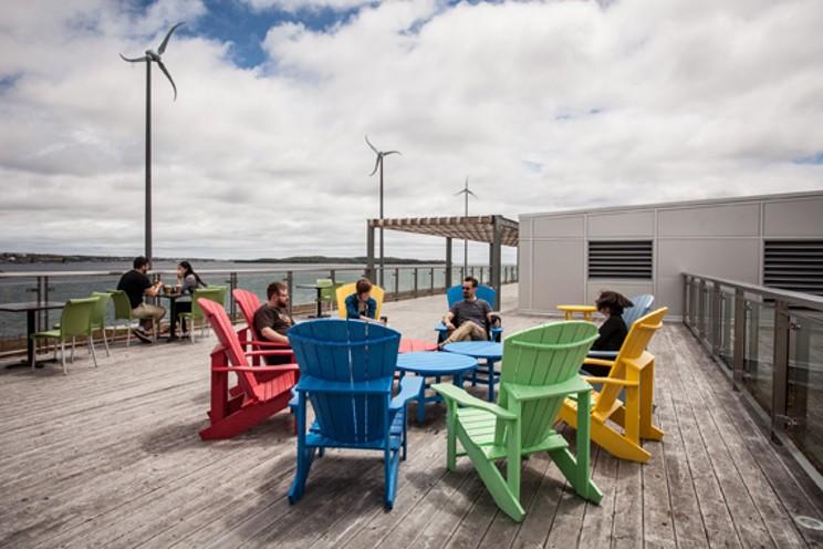 Seaport Market rooftop patio