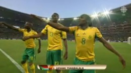 South Africa celebrates the first goal of the FIFA 2010 World Cup of soccer. Or football. - FROM CBC'S WEBCAST