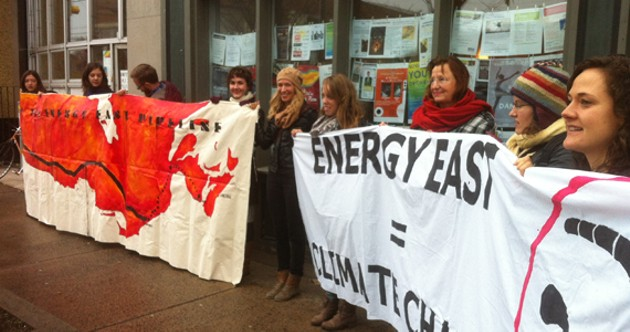 Stop Energy East Halifax members protest outside NDP MP Megan Leslie's office in November.