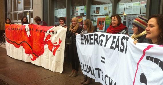 Stop Energy East Halifax members protest outside NDP MP Megan Leslie's office in November.