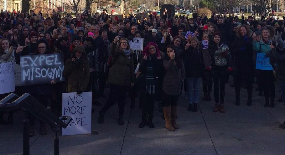 Students gathered at Dalhousie on January 5 to protest campus misogyny. - SHELBY ELIZABETH SMITH