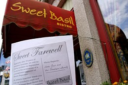 Sweet Basil has shut its doors permanently pending demolition of  several buildings on Lower Water Street. They will be replaced by a nine-story office building that retains the facade of the original buildings. photo Julé Malet-Veale