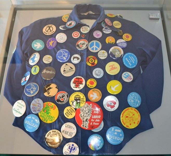 The button-covered shirt is on display at Pier 21 until October 20, on loan from Mount Saint Vincent University. - DAN CONLIN