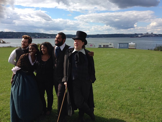 The cast and director of Settling Africville on the present-day site.
