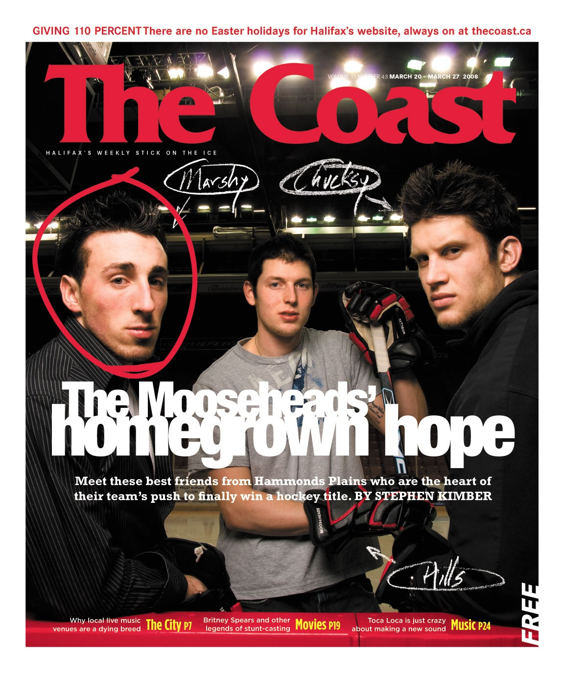 The Coast cover that introduced Brad Marchand to a wide Halifax audience. The Boston Bruins Stanley Cup hero is circled at left.