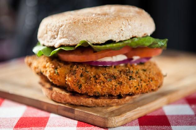 The Le Bistro haddock burger is rocking homemade tartar sauce. - RILEY SMITH