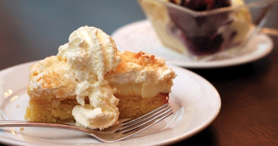 The lemon square with coconut-crusted meringue is flat-out delicious.