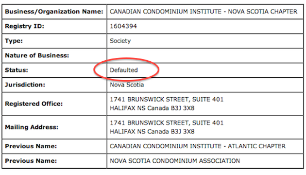 The Nova Scotia chapter of the Canadian Condominium Institute ceased to be a legal entity in 2009, but sent out flyers to Clayton Park residents last week.