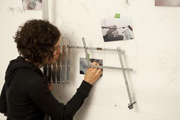 The pantograph drawing tool creates a delicate mural - STEVE FARMER