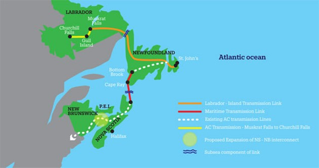 The proposed electrical route connects Labrador to Nova Scotia.
