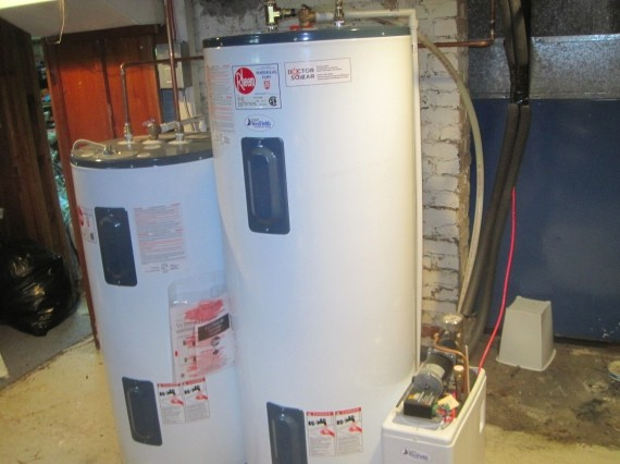 The tank set-up in a solar water heating system.