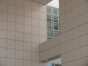 The thirty inch square in a wall and window of the Getty