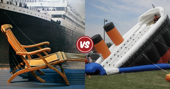 The tragedy and the toy: A rare Titanic deck chair at the Maritime Museum of the Atlantic, and a not-rare-enough bouncy castle.