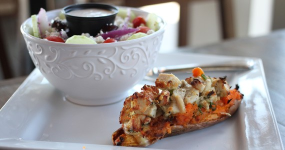 The twice-baked sweet potato is an inventive take-out option.
