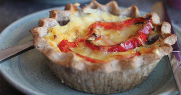 The vegetable quiche at Cafe Brea is bursting with red pepper and mushroom, but could use a bit more spice.