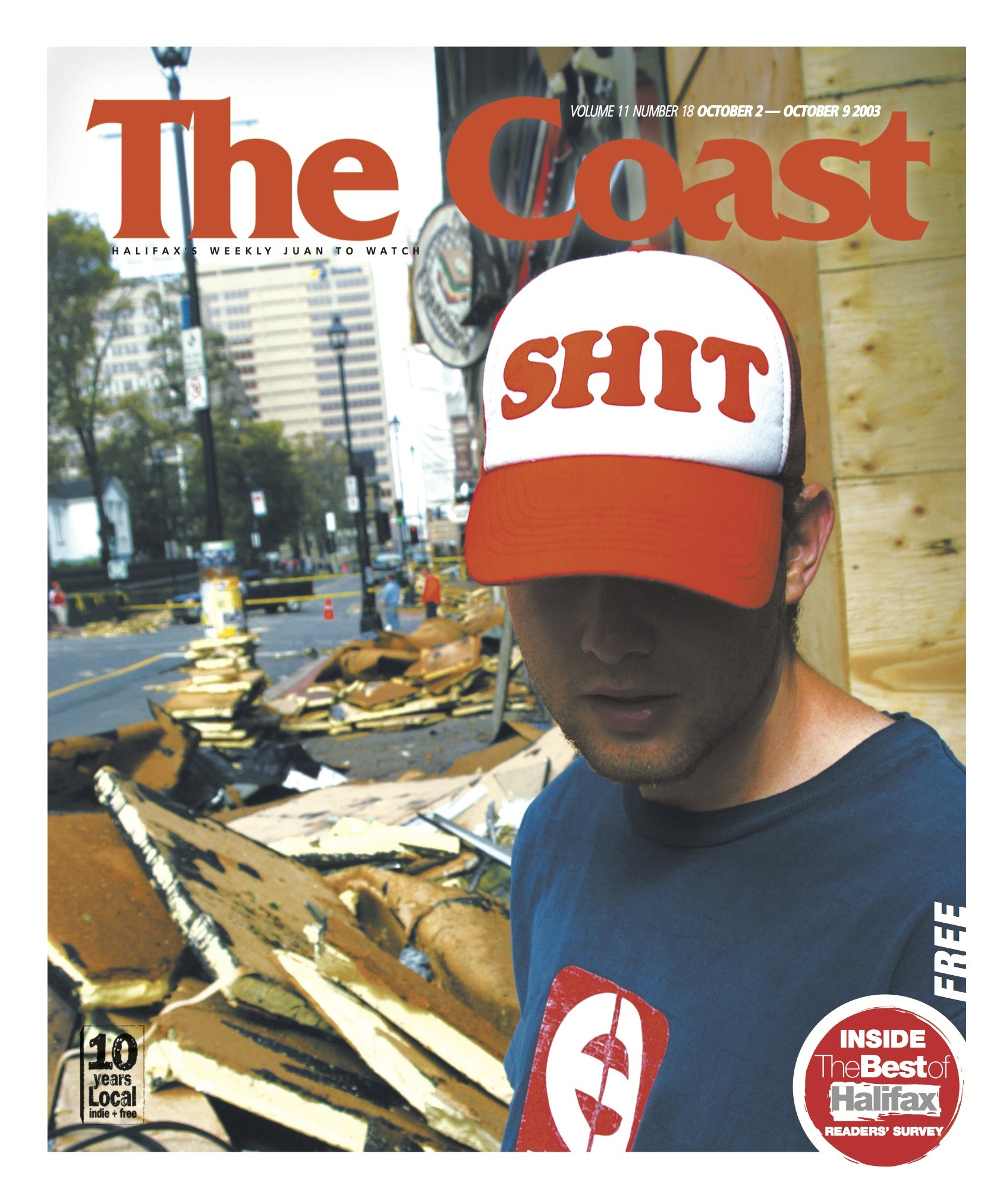 There's no headline, and no Photoshopping, on this Hurricane Juan cover. - MIKE TOMPKINS