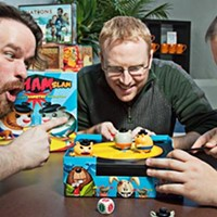 Things get heated with (l-r) Jon-Paul Decosse, Kris Moulton and John Gallant of the Board Room Game Cafe.