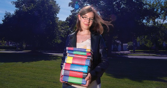 Third-year SMU anthropology student Kaleigh Embree with her favourite novels.