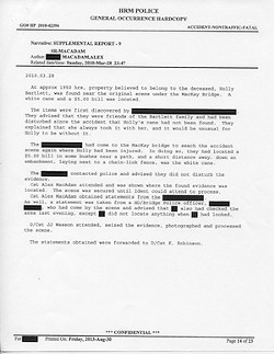 This police report explains about the discovery of the cane. Click to enlarge.