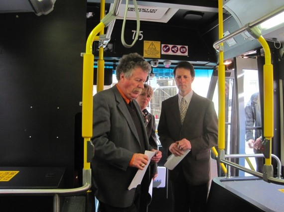Transportation minister Bill Estabrooks (left) with Halifax mayor Peter Kelly (right). That's Metro Transit manager Pat Soanes squeezed in between.