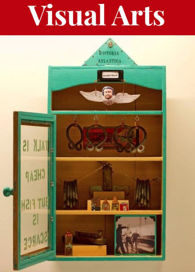 Su Rogers' vintage medicine cabinets act as micro-museums in her show Historia Atlantica. - SU ROGERS ARTWORK