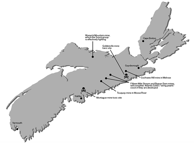 """Atlantic Gold talks about a """"string of pearls""""—four gold mines from Tuoquoy in Moose River to Cochrane Hill in Melrose—but future Nova Scotians would doubtless call it a string of toxic waste sites."""