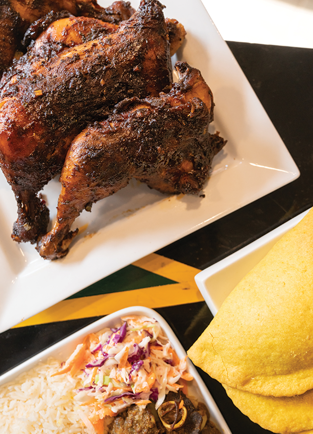 Jerk chicken, stewed oxtail and Jamaican patties - IAN SELIG