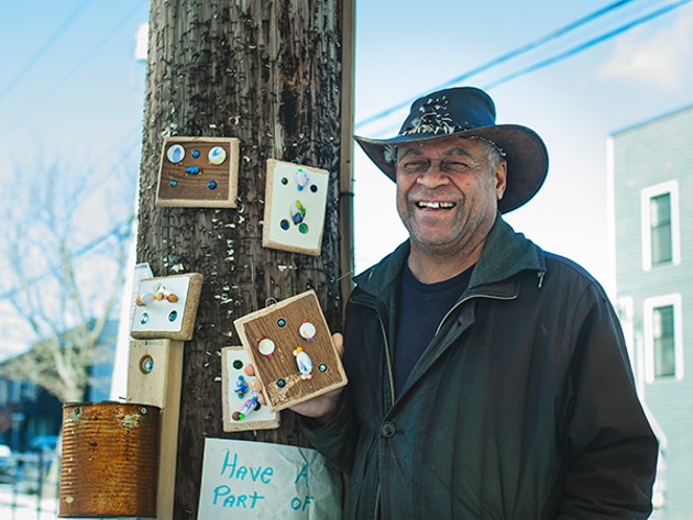 """The thing is to take something that's worthless, a useless piece of wood,"" says White of his art making. ""It's surprising what you can do wit that."" - LENNY MULLINS"
