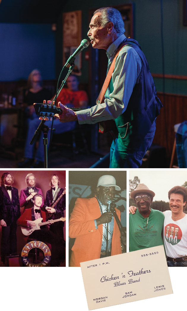 "Davis—pictured at top at his regular Monday gig at Bearly's—says he ""survived the disco era"" by adding a blues influence to the Knights of The Mystic Sea (bottom left). By the early '80s, Davis was backing legends like Chicago harmonica great Snooky Pryor (bottom middle). - RILEY SMITH, SUBMITTED"